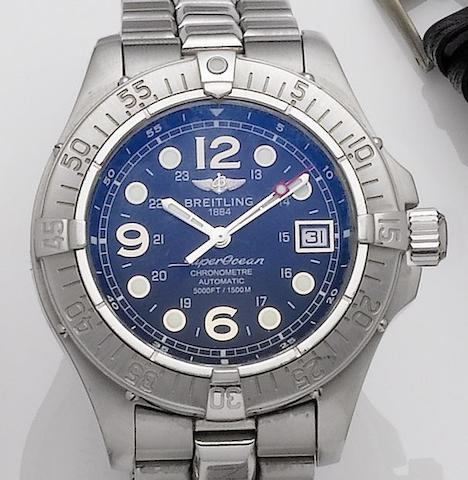 Breitling. A stainless steel automatic calendar bracelet watchSuper Ocean, Recent