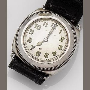 Harwood. A silver automatic wristwatch Glasgow import mark for 1929