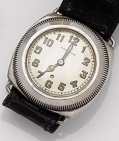 Harwood. A silver automatic wristwatchGlasgow import mark for 1929