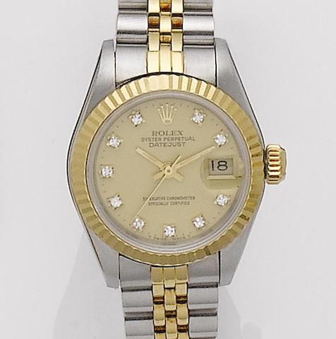 Rolex. A lady's stainless steel and gold automatic calendar bracelet watch Datejust, Ref: 69173, Serial No. 9043880,