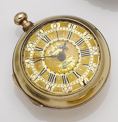 William Threlkeld. An 18th century 22ct gold pair case pocket watch with later outer case (AF)
