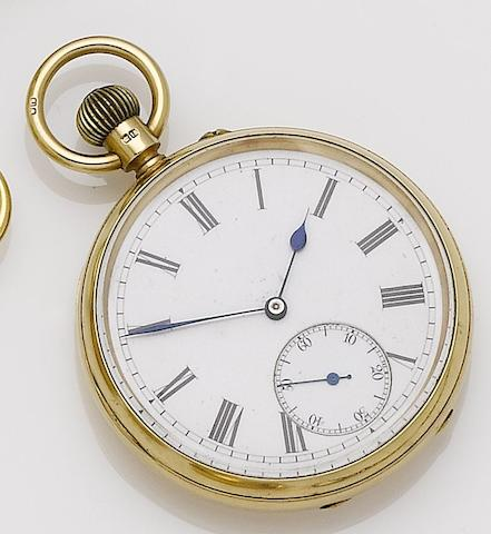 Swiss. An 18ct gold manual wind open face pocket watchCase No.7303, Chester hallmark for 1895