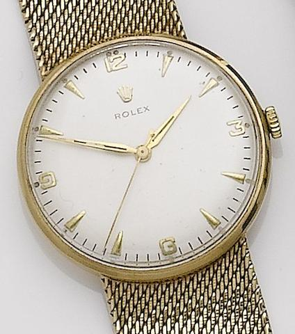 Rolex. A 9ct gold manual wind bracelet watchCase No.06657, Movement No.N63658, Sold 18 May 1963