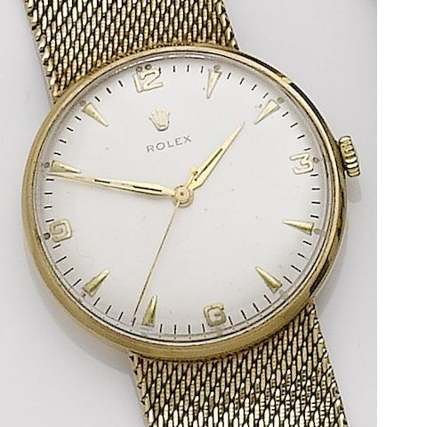 Rolex. A 9ct gold manual wind bracelet watch Case No.06657, Movement No.N63658, Sold 18 May 1963