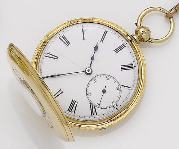 J.T.Wilson. An 18ct gold half hunter key wind pocket watch with key and 9ct chain Stamford, No.12495, London Hallmark for 1866