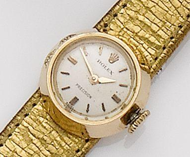 Rolex. An 18ct rose gold manual wind wristwatch together with fitted box and 3 spare Rolex straps Precision Chameleon, 1960's