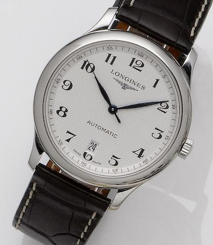 Longines. A stainless steel automatic calendar wristwatchMaster Collection, Sold May 30th 2009