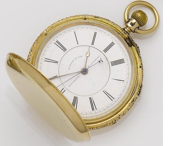 W.Batty & Sons. A late 19th century 18ct gold manual wind full hunter manual wind chronograph pocket watch Chester hallmark for 1888