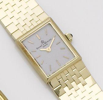 Baume & Mercier. A lady's 14ct gold quartz bracelet watch1990's