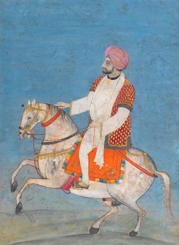 A nobleman riding a caparisoned horse Punjab Plains, mid-19th Century
