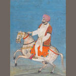 A nobleman riding a caparisoned horse Punjab Plains, mid-19th Century