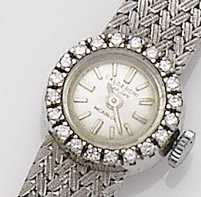 Swiss. A lady's 18ct white gold and diamond set bracelet watch Retailed by Calderoni, 1960's