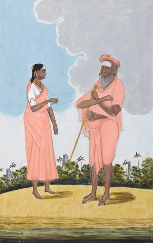 An elderly mendicant and a woman in a landscape Tanjore, circa 1810-20