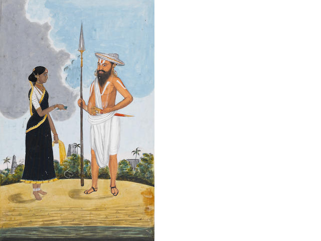 A man of the 'Bindela Caste' and his wife Tanjore, circa 1810