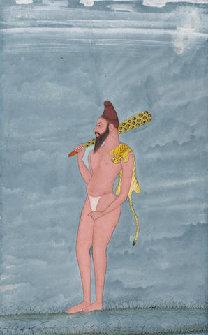 A sadhu standing in a landscape, wearing a tiger skin and carrying a morchal Kishangarh, circa 1760