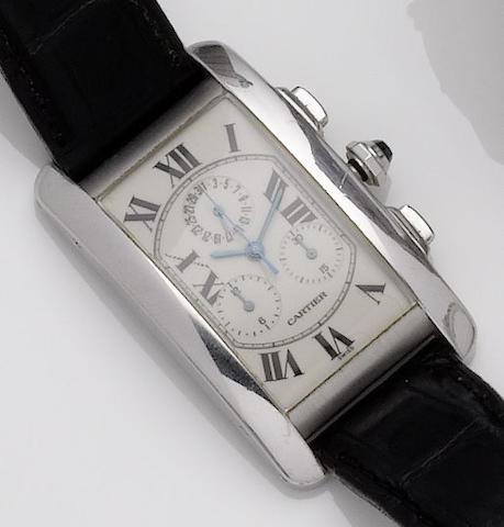 Cartier. An 18ct white gold chronograph calendar quartz wristwatchTank Americaine, Recent