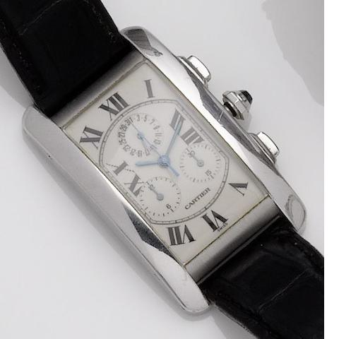Cartier. An 18ct white gold chronograph calendar quartz wristwatch Tank Americaine, Recent