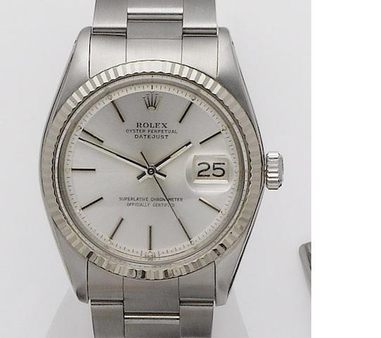 Rolex. A stainless steel automatic calendar bracelet watch with white gold bezel together with ????Datejust, Ref: 1603, Recent (Circa 2006?)
