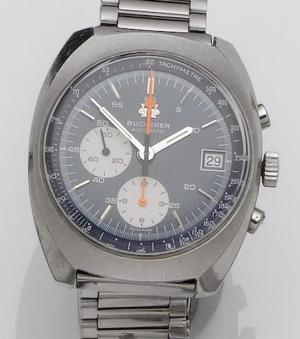 Bucherer. A stainless steel chronograph bracelet watch 1970's