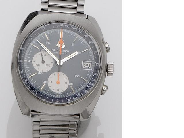 Bucherer. A stainless steel chronograph bracelet watch 1970's