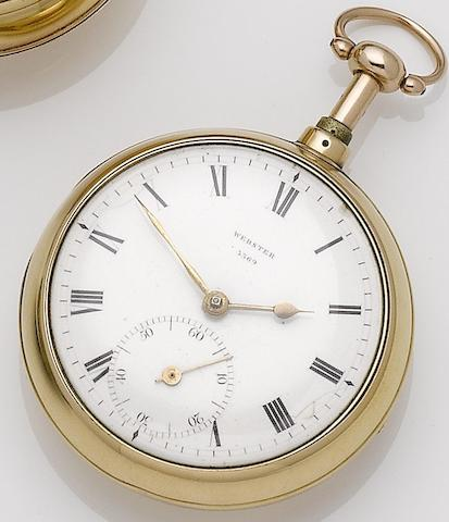 Richard Webster. An early 19th century 18ct gold quarter repeating open face pocket watchMovement numbered 3370, London hallmark for 1808