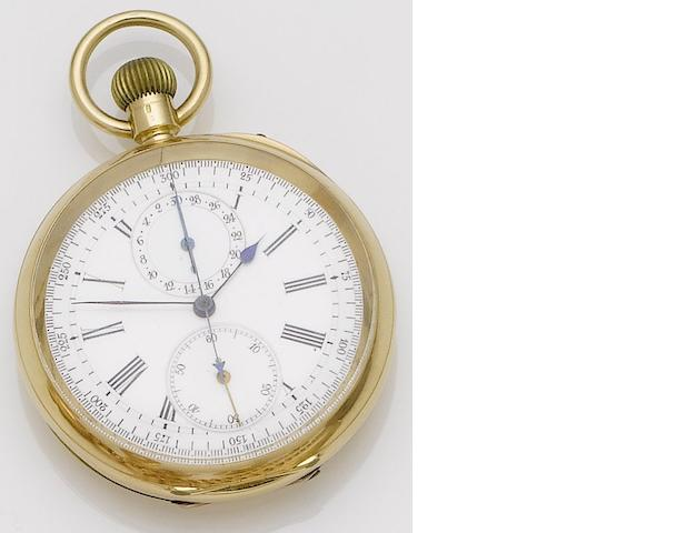 Dobson & Sons. An 18ct gold open face calendar chronometer pocket watch'The Ascot,' Circa 1900