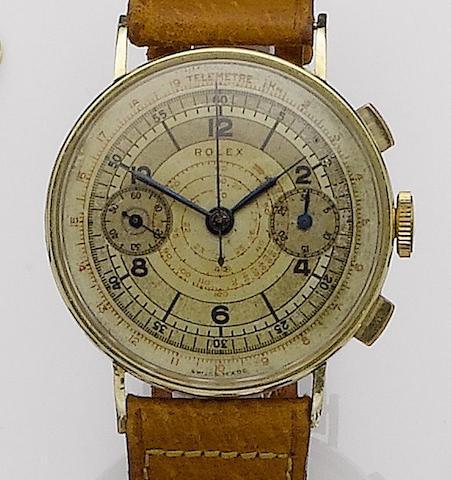 Rolex. A rare 14ct gold manual wind chronograph wristwatchRef:3666, Case No.3070492, Circa 1940