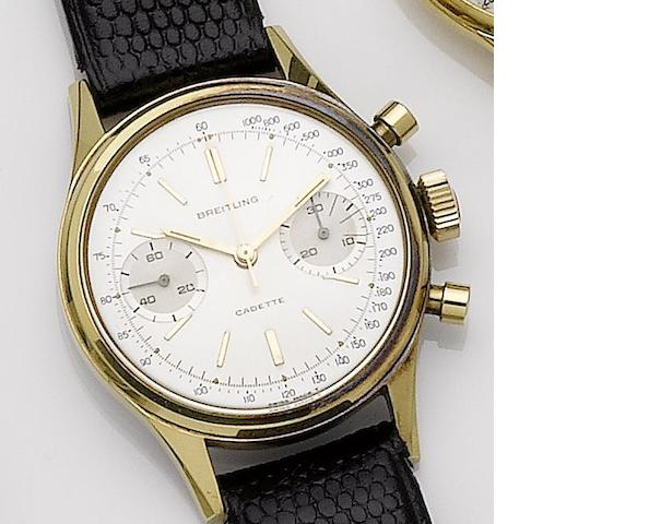 Breitling. A gold plated chronograph wristwatch Cadette, Ref:1159, Case No.1157163, Circa 1968