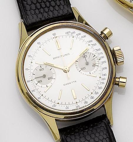 Breitling. A gold plated chronograph wristwatch Cadette, Ref:1159, Case No.1157163, Circa 1968