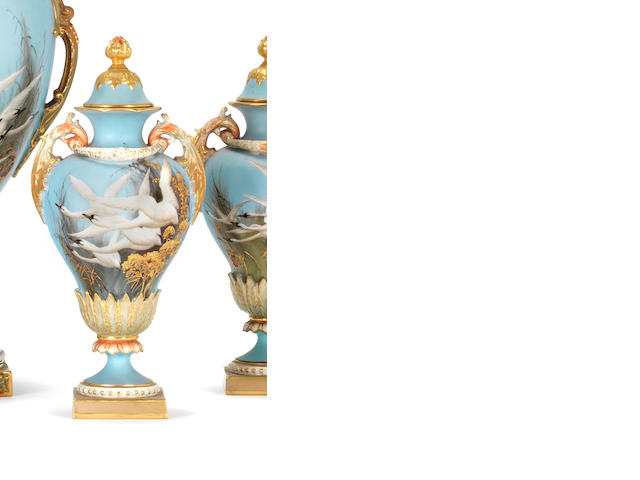 A Royal Worcester vase and cover by Charley Baldwyn, dated 1903