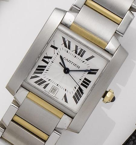 Cartier. A stainless steel and gold automatic calendar bracelet watchTank Francaise, Recent