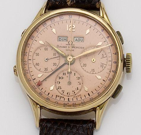 Baume & Mercier. A 18ct rose gold manual wind chronograph calendar wristwatch No.64268, 1940's