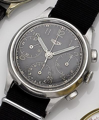 Heuer. A stainless steel manual wind chronograph wristwatchCase No.46343, Circa 1940