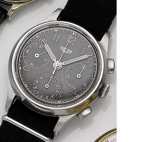 Heuer. A stainless steel manual wind chronograph wristwatch Case No.46343, Circa 1940