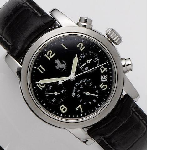 Girard-Perregaux. A stainless steel automatic chronograph calendar wristwatchFerrari, Ref.8020, No.582, Sold April 20th 1996