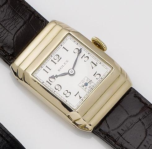 Rolex. A 9ct gold manual wind wristwatch with stepped caseChester hallmark for 1933