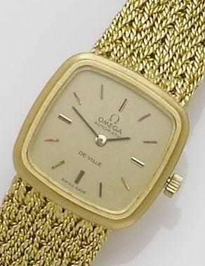 Omega. An 18ct gold automatic bracelet watchDe Ville, Case No.8298178, 1970's