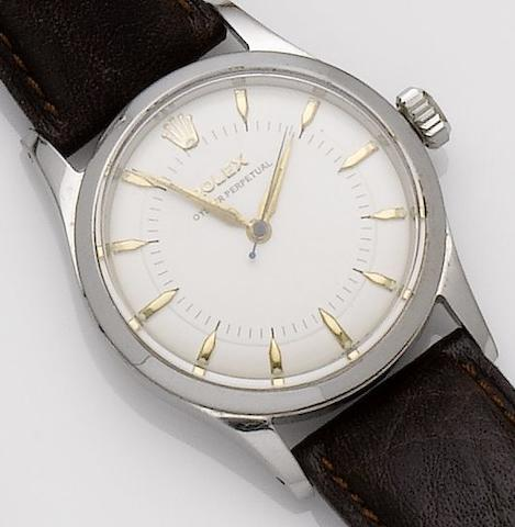 Rolex. A stainless steel automatic centre seconds wristwatch Oyster, Ref: 6332, Serial No. 980980, 1950's