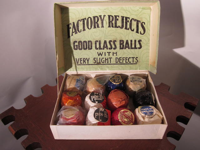 A 'Factory Rejects' box containing 12 different rick valentine wrapped balls