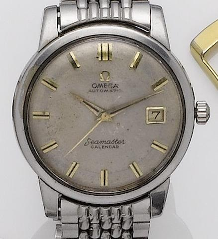 Omega. A stainless steel automatic calendar bracelet watchSeamaster, 1960's