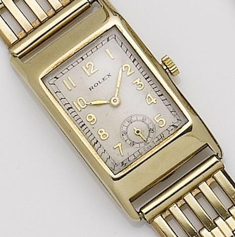Rolex. A 9ct gold manual wind bracelet watchGlasgow import mark for 1929
