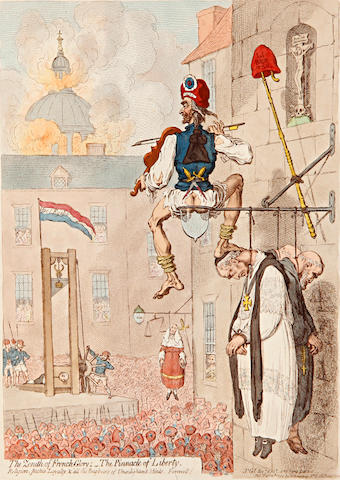 James Gillray (British, 1757-1815) The Zenith of French Glory - The Pinnacle of Liberty  Etching with hand colouring, 1793, on wove, watermarked 1794, published Feb. 12th by H.Humphrey 355 x 248mm (14 x 9 3/4in)(PL)  unframed