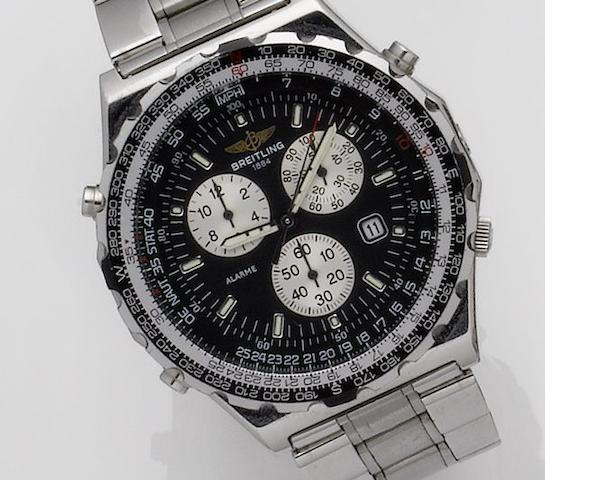 Breitling. A stainless steel chronograph quartz bracelet watch together with box, papers, leather strap and spare links Jupiter Pilot, Recent