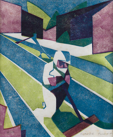 Claude Flight (British, 1881-1955) Lawn Mowing  Linocut printed in cobalt blue, olive green and light purple, c.1931, on thin white oriental laid paper, signed and numbered 6/50 in pencil, 300 x 250mm (11 3/4 x 9 3/4in) (I)