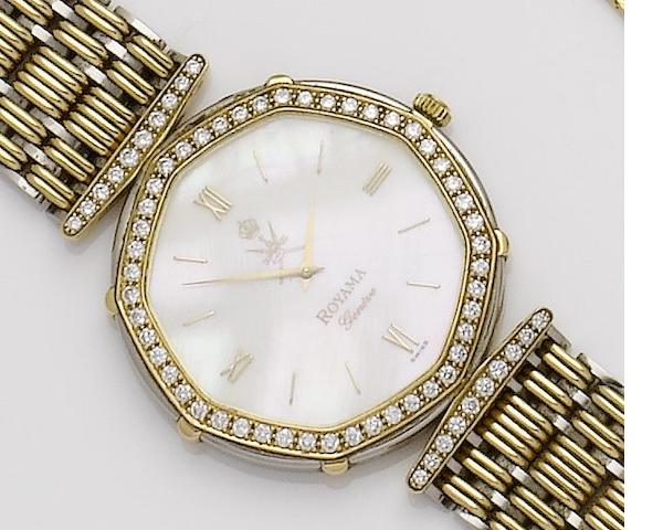 Royama. An 18ct white and yellow gold diamond set bracelet watch Royama, Sold *****