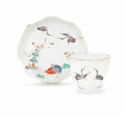 A Chantilly Kakiemon beaker and saucer, circa 1730