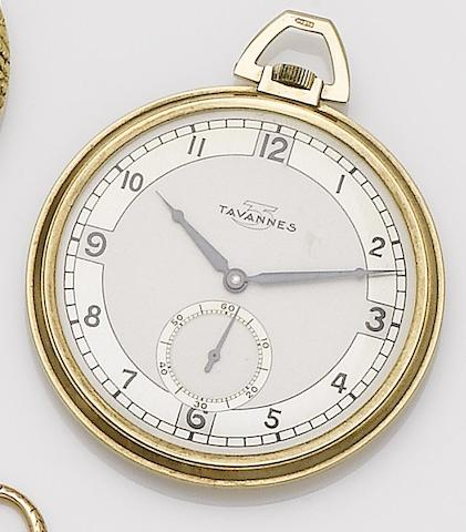 Tavannes. A 9ct gold manual wind open face pocket watchGlasgow import mark for 1936
