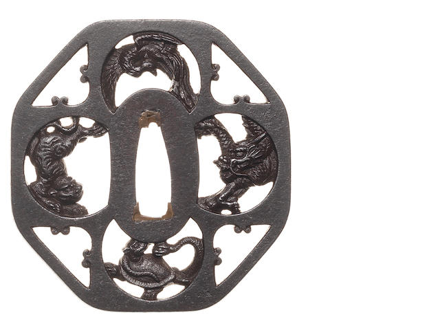 An iron sukashi tsuba Mito School, 18th century