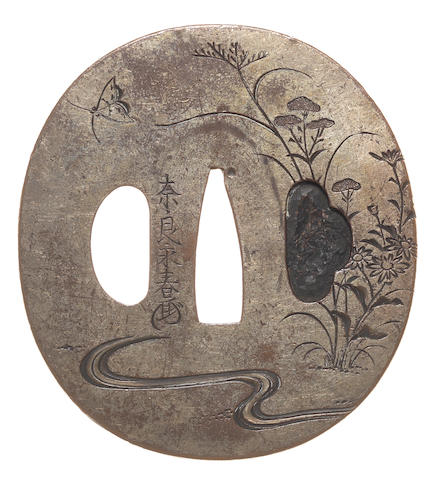 Three tsuba of silvered metal and sentoku Nara School, 18th/19th century