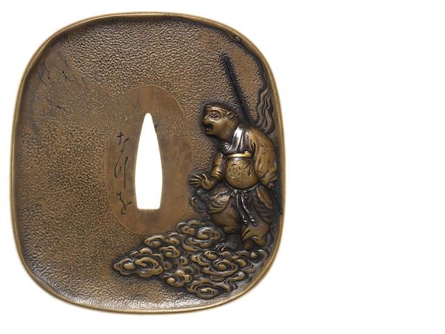 A brass bakumatsu tsuba Kano style, Meiji Period